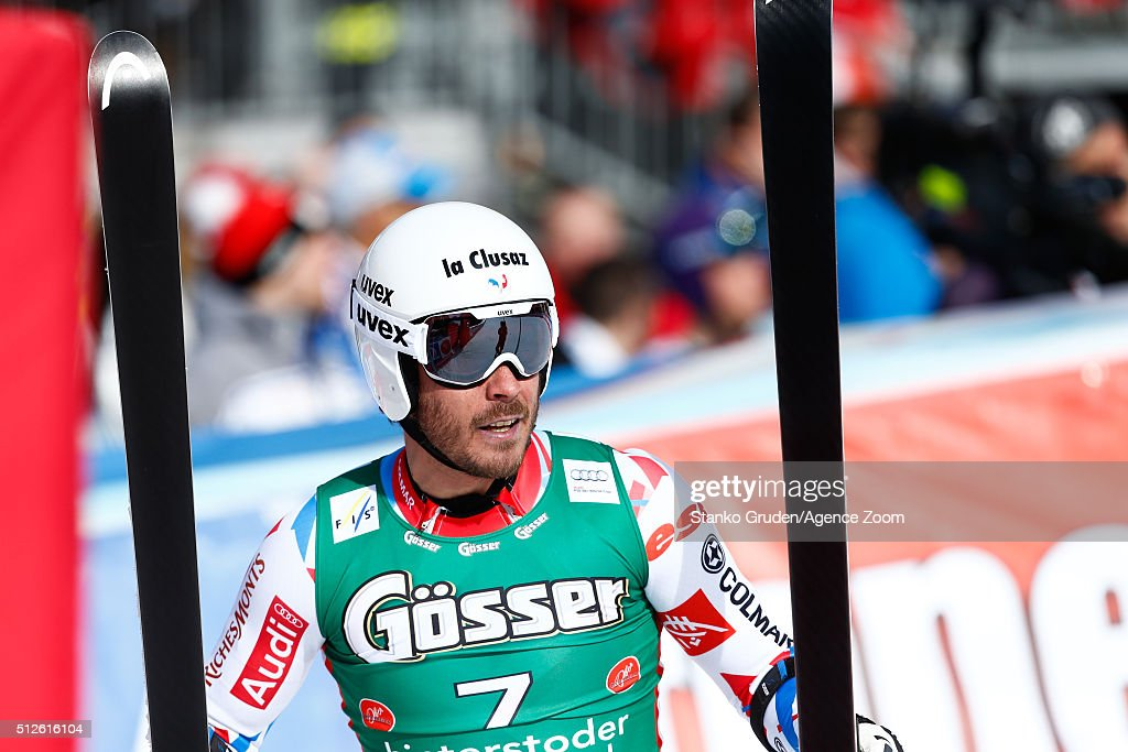 Johan Clarey of France competes during the Audi FIS Alpine Ski World Cup Men's Super-G on February 27, 2016 in Hinterstoder, Austria.