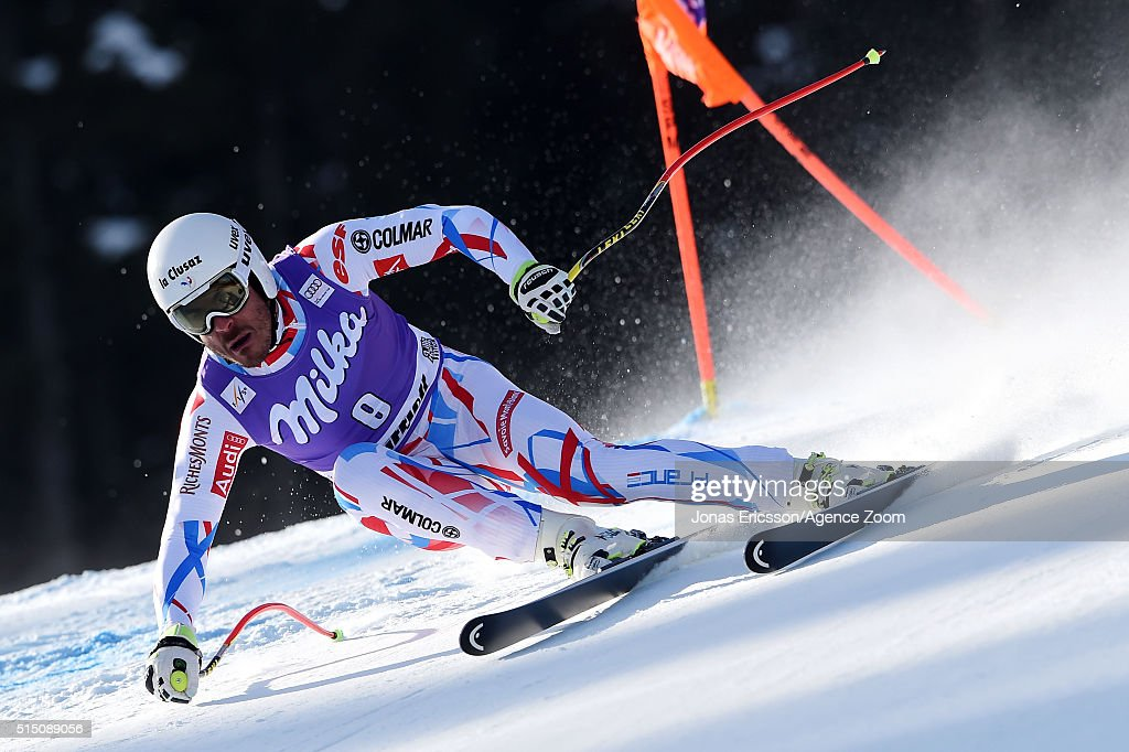 Johan Clarey of France competes during the Audi FIS Alpine Ski World Cup Men's Downhill on March 12, 2016 in Kvitfjell, Norway.