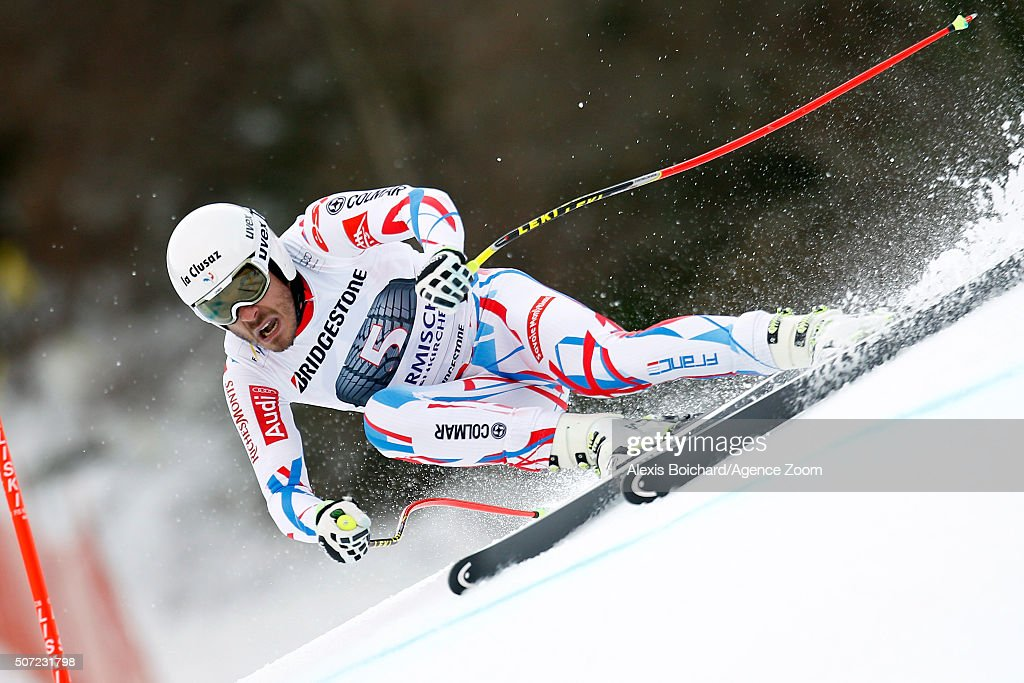 <a gi-track='captionPersonalityLinkClicked' href=/galleries/search?phrase=Johan+Clarey&family=editorial&specificpeople=4051720 ng-click='$event.stopPropagation()'>Johan Clarey</a> of France in action during the Audi FIS Alpine Ski World Cup Men's Downhill Training on January 28, 2016 in Garmisch-Partenkirchen, Germany.