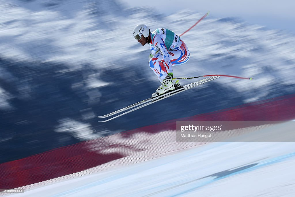 Johan Clarey of France in action during the Audi FIS Alpine Skiing World Cup downhill training on March 15, 2016 in St Moritz, Switzerland.