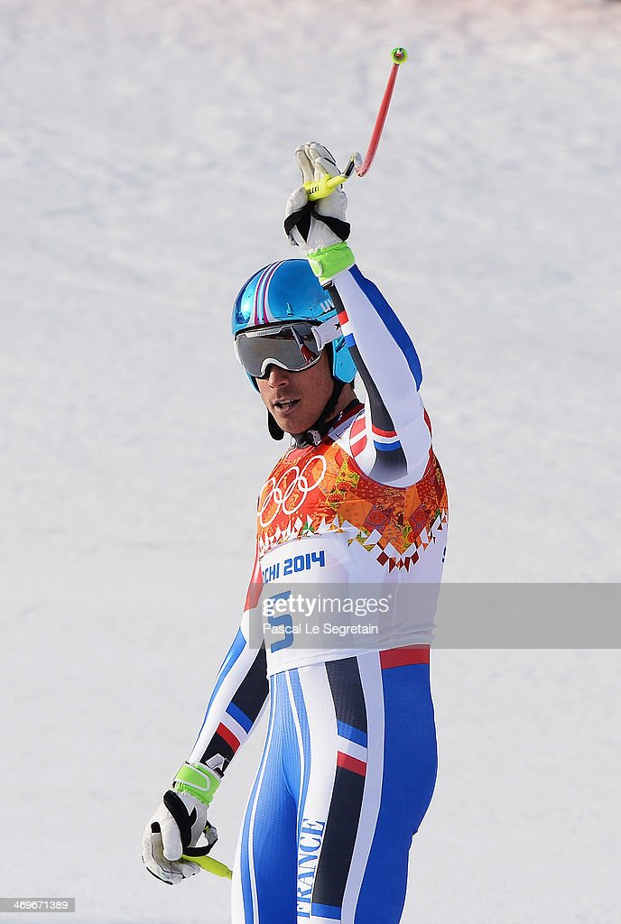 Johan Clarey of France in reacts during the Alpine Skiing Men's Super-G on day 9 of the Sochi 2014 Winter Olympics at Rosa Khutor Alpine Center on February 16, 2014 in Sochi, Russia.