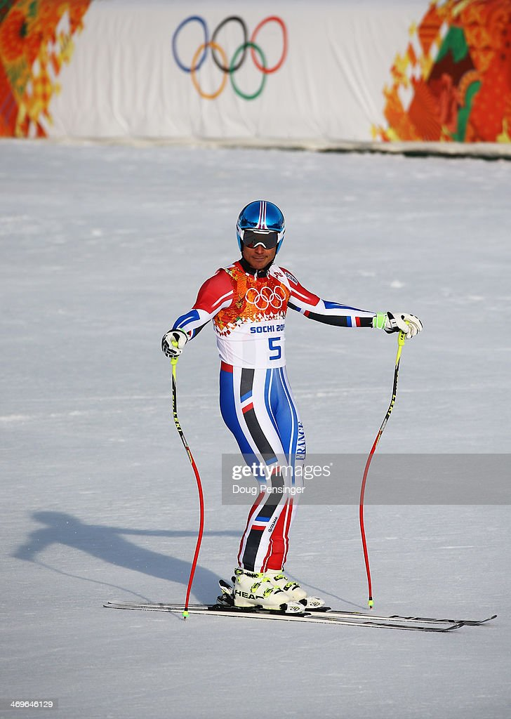 <a gi-track='captionPersonalityLinkClicked' href=/galleries/search?phrase=Johan+Clarey&family=editorial&specificpeople=4051720 ng-click='$event.stopPropagation()'>Johan Clarey</a> of France reacts after a run during the Alpine Skiing Men's Super-G on day 9 of the Sochi 2014 Winter Olympics at Rosa Khutor Alpine Center on February 16, 2014 in Sochi, Russia.