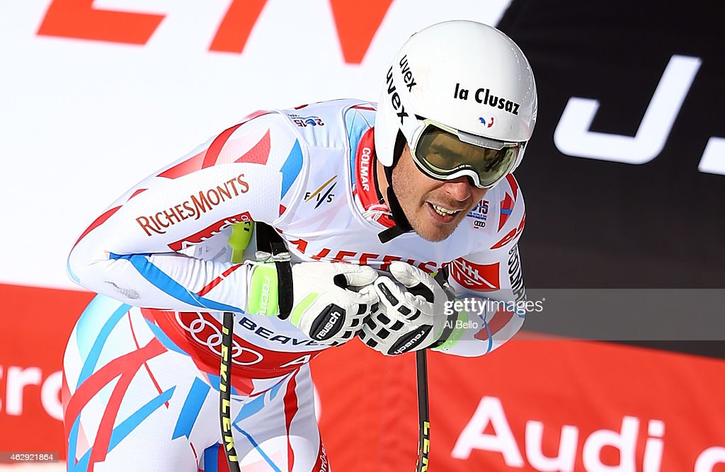 <a gi-track='captionPersonalityLinkClicked' href=/galleries/search?phrase=Johan+Clarey&family=editorial&specificpeople=4051720 ng-click='$event.stopPropagation()'>Johan Clarey</a> of France reacts after crossing the finish of the Men's Downhill in Red Tail Stadium on Day 6 of the 2015 FIS Alpine World Ski Championships on February 7, 2015 in Beaver Creek, Colorado.