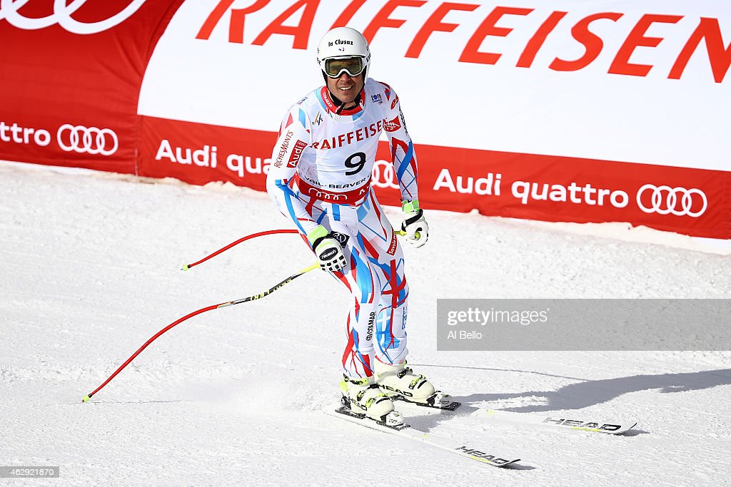 Johan Clarey of France reacts after crossing the finish of the Men's Downhill in Red Tail Stadium on Day 6 of the 2015 FIS Alpine World Ski Championships on February 7, 2015 in Beaver Creek, Colorado.