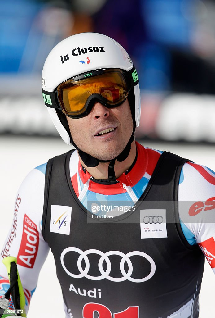 Johan Clarey of France stands at the finish line after completing a training run for the Audi FIS World Cup on the Birds of Prey on December 3, 2014 in Beaver Creek, Colorado.