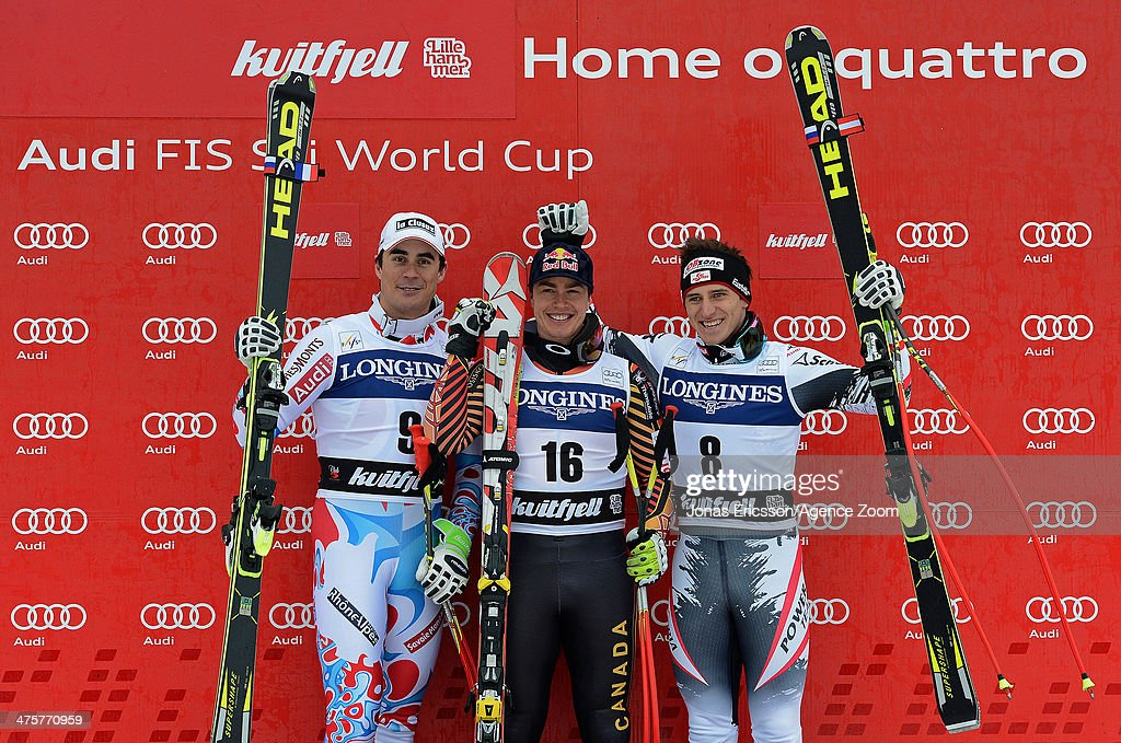 Johan Clarey of France takes 2nd place, Matthias Mayer of Austria takes 3rd place, Erik Guay of Canada takes 1st place during the Audi FIS Alpine Ski World Cup Men's Downhill on March 01, 2014 in Kvitfjell, Norway.