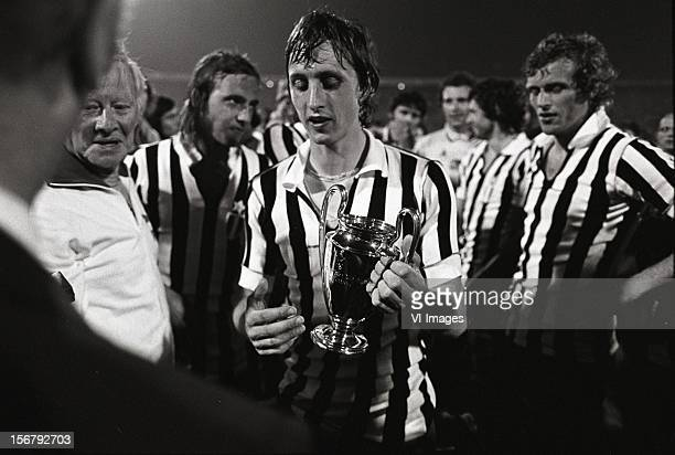 Johan Cruijff after winning the European Cup final match between Ajax and Juventus at the Red Star Stadium on May 30 2012 in Belgrade Yugoslavia