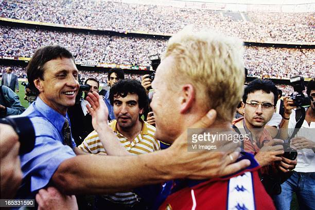Johan Cruijff Ronald Koeman during the celebration of the new champions FC Barcelona in may 1993 in Barcelona Spain