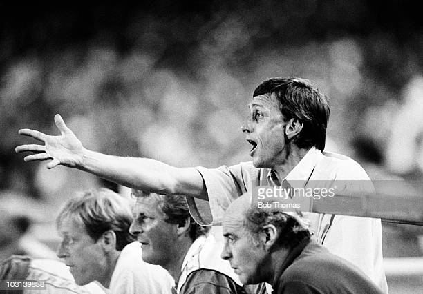 Johan Cruyff Ajax Amsterdam coach during the Gamper Tournament match against Barcelona held at The Nou Camp Stadium Barcelona on 18th August 1987...