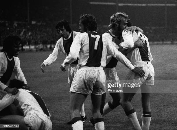 Johan Cruyff celebrates with team mates after Haan scored for Ajax in the European Cup Final against Panathinaikos at Wembley