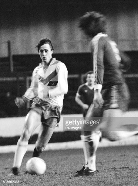 Johan Cruyff in action at Stamford Bridge He is playing for Drecht Steden 79 against Chelsea in a friendly match