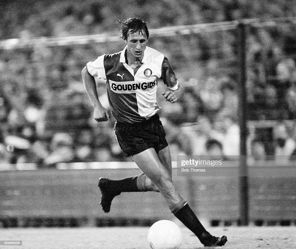 Johan Cruyff of Feyenoord in action against Standard Liege in a tournament held at De Kuip in Rotterdam on 5th August 1983 Standard Liege beat...