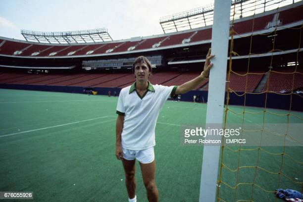 Johan Cruyff of New York Cosmos during training for the Soccer Bowl match against Tampa Bay Rowdies