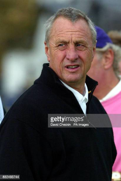 Johan Cruyff on the 1st tee of the old course at St Andrew's at the start of the second day's play in the Dunhill Links Championship Fife