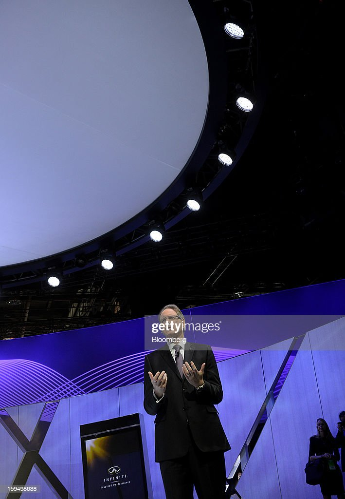 Johan De Nysschen, president of Infiniti for Nissan Motor Co., speaks during the unveiling of the Q50 sedan at the 2013 North American International Auto Show (NAIAS) in Detroit, Michigan, U.S., on Monday, Jan. 14, 2013. Nissan Motor Co.'s Infiniti, lagging larger German, Japanese and U.S. luxury brands, is replacing the G sedan with the Q50 sports car as the company links growth goals for its rechristened lineup to better looks and technology. Photographer: Daniel Acker/Bloomberg via Getty Images