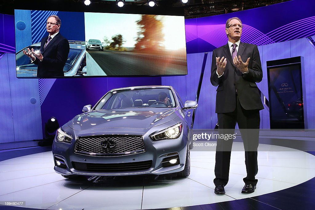 Johan De Nysschen president of Infiniti Motor Corp. introduces the 2014 Q50 to replace their best-selling G sedan at the North American International Auto Show on January 14, 2013 in Detroit, Michigan. The auto show will be open to the public January 19-27.