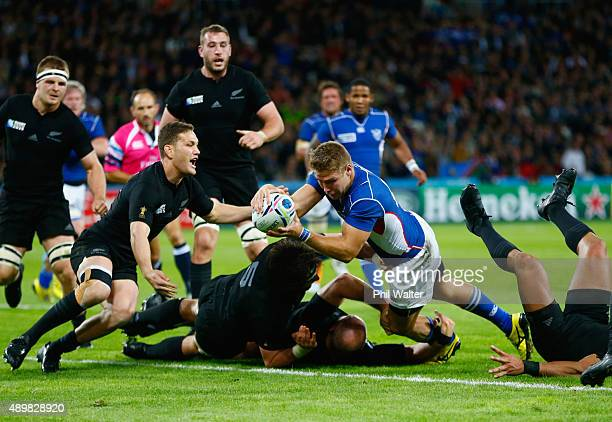 Johan Deysel of Namibia goes over to score his teams opening try during the 2015 Rugby World Cup Pool C match between New Zealand and Namibia at the...