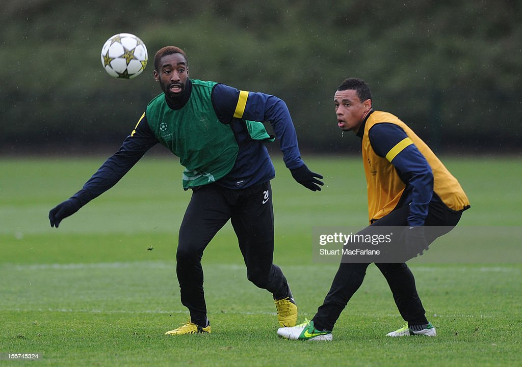 Johan Djourou and Francis Coquelin of Arsenal during a training session at London Colney on November 20, 2012 in St Albans, England.