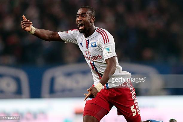 Johan Djourou of Hamburg celebrate the goal during the First Bundesliga match between Hamburger SV and SC Freiburg at Imtech Arena on May 8 2015 in...