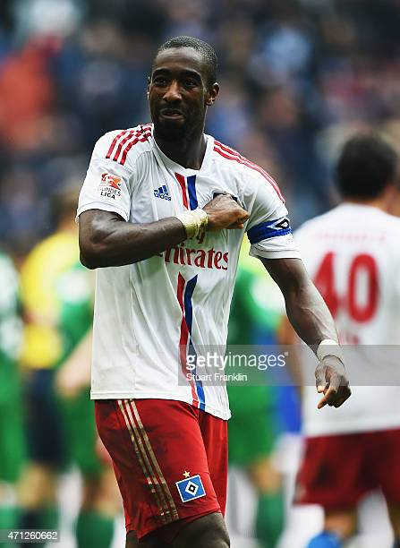 Johan Djourou of Hamburg celebrates at the end of the Bundeslga match between Hamburger SV and FC Augsburg at Imtech Arena on April 25 2015 in...