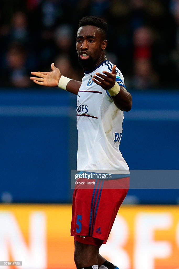 <a gi-track='captionPersonalityLinkClicked' href=/galleries/search?phrase=Johan+Djourou&family=editorial&specificpeople=534997 ng-click='$event.stopPropagation()'>Johan Djourou</a> of Hamburg gesticulated during the First Bundesliga match between Hamburger SV and 1. FC Koeln at Volksparkstadion on February 7, 2016 in Hamburg, Germany.