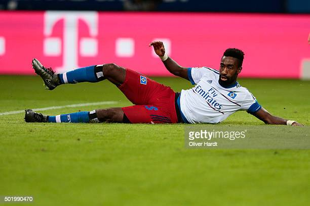 Johan Djourou of Hamburg in action during the First bundesliga match between Hamburger SV and FC Augsburg at Volksparkstadion on December 19 2015 in...