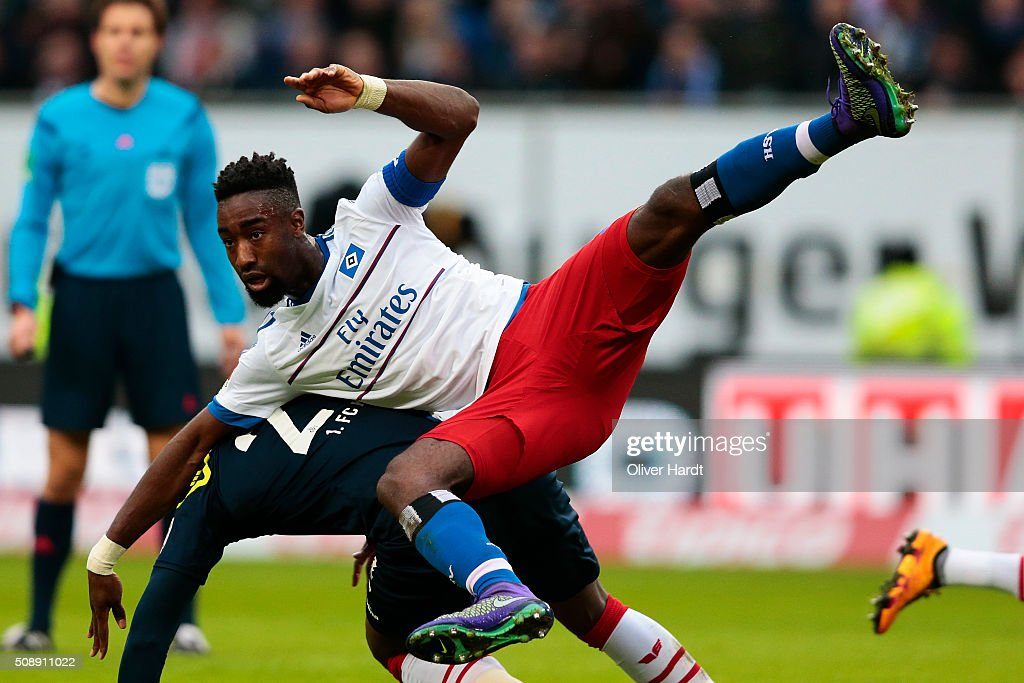 <a gi-track='captionPersonalityLinkClicked' href=/galleries/search?phrase=Johan+Djourou&family=editorial&specificpeople=534997 ng-click='$event.stopPropagation()'>Johan Djourou</a> of Hamburg in action during the First Bundesliga match between Hamburger SV and 1. FC Koeln at Volksparkstadion on February 7, 2016 in Hamburg, Germany.