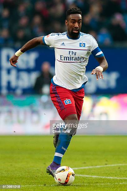 Johan Djourou of Hamburg in action during the First Bundesliga match between Hamburger SV and FC Ingolstadt at Volksparkstadion on February 27 2016...