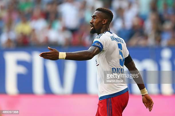 Johan Djourou of Hamburg reacts during the Bundesliga match between Hamburger SV and VfB Stuttgart at Volksparkstadion on August 22 2015 in Hamburg...