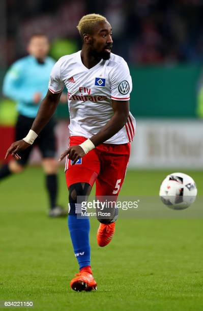Johan Djourou of Hamburg runs with the ball during the DFB Cup round of 16 match between Hamburger SV and 1 FC Koeln at Volksparkstadion on February...