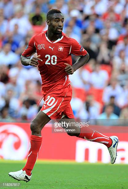 Johan Djourou of Switzerland in action during the UEFA EURO 2012 group G qualifying match between England and Switzerland at Wembley Stadium on June...