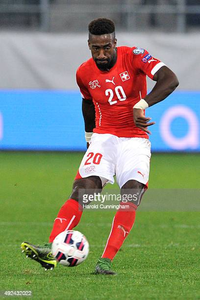 Johan Djourou of Switzerland in action during the UEFA EURO 2016 qualifier between Switzerland and San Marino at AFG Arena on October 9 2015 in St...