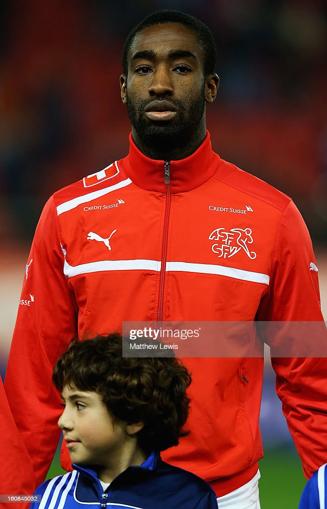 <a gi-track='captionPersonalityLinkClicked' href=/galleries/search?phrase=Johan+Djourou&family=editorial&specificpeople=534997 ng-click='$event.stopPropagation()'>Johan Djourou</a> of Switzerland lines up ahead of the International Friendly match between Greece and Switzerland at Karaiskakis Stadium on February 6, 2013 in Athens, Greece.