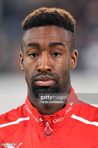 Johan Djourou of Switzerland looks on during the anthem prior to the UEFA EURO 2016 qualifier between Switzerland and San Marino at AFG Arena on...