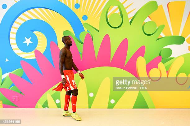Johan Djourou of Switzerland walks in the tunnel after the 01 defeat in the 2014 FIFA World Cup Brazil Round of 16 match between Argentina and...