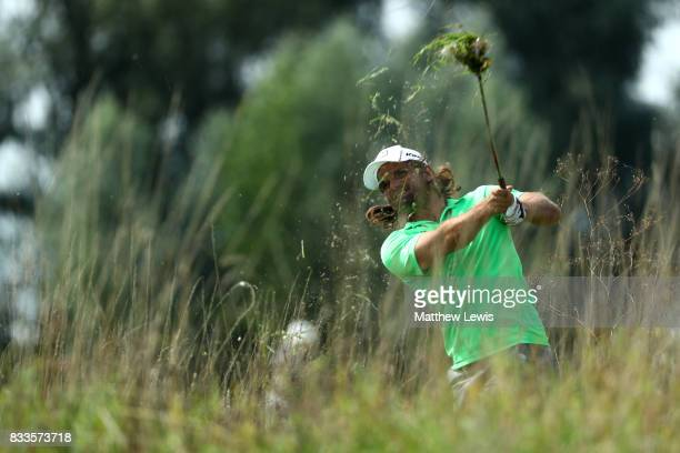 Johan Edfors of Sweden hits his second shot on the 3rd hole during round one of the Saltire Energy Paul Lawrie Matchplay at Golf Resort Bad Griesbach...