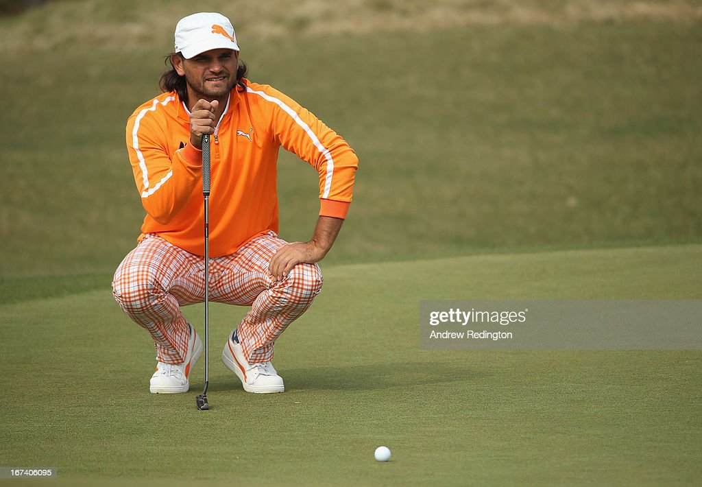 Johan Edfors of Sweden lines up a putt on the 18th hole during the first round of the Ballantine's Championship at Blackstone Golf Club on April 25, 2013 in Icheon, South Korea.