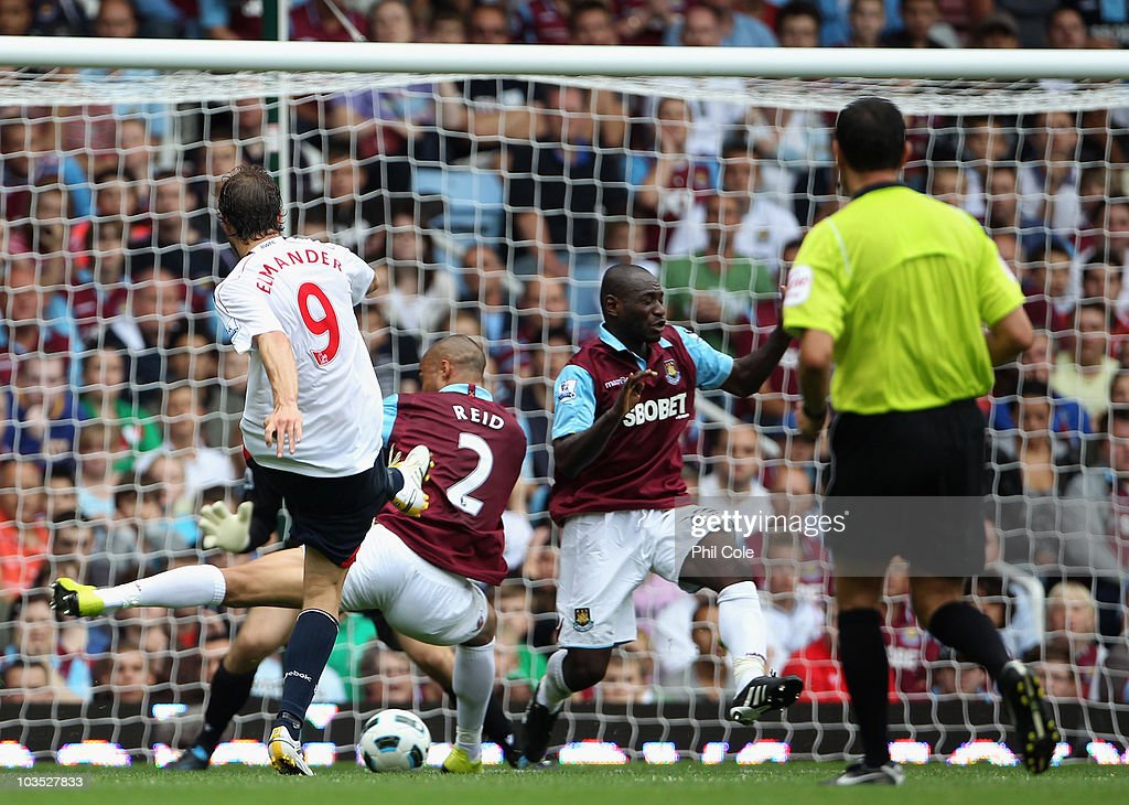 <a gi-track='captionPersonalityLinkClicked' href=/galleries/search?phrase=Johan+Elmander&family=editorial&specificpeople=553763 ng-click='$event.stopPropagation()'>Johan Elmander</a> of Bolton Wanderers scores his second goal and his team's third during the Barclays Premier League match between West Ham United and Bolton Wanderers at the Boleyn Ground on August 21, 2010 in London, England.