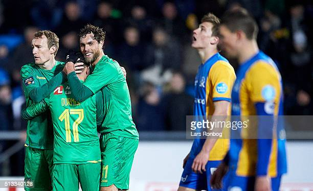 Johan Elmander of Brondby IF celebrates after scoring their second goal during the Danish Cup DBU Pokalen quarterfinal match between Skive IK and...