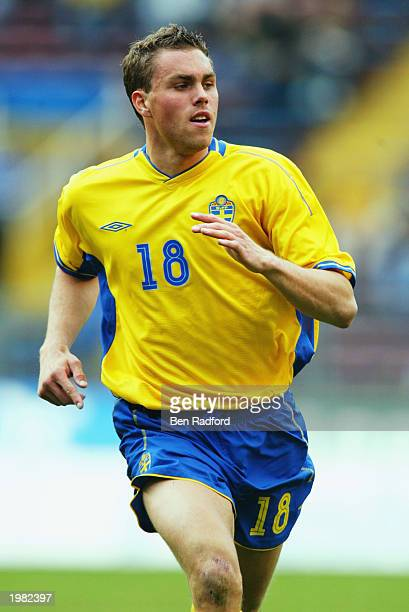 Johan Elmander of Sweden in action during the International Friendly match between Sweden and Croatia held on April 30 2003 at the Rasunda Stadion in...
