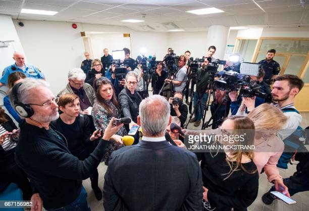Johan Eriksson defence counsel to Uzbek national Rakhmat Akilov the prime suspect in the Stockholm truck attack talks to journalists prior to remand...