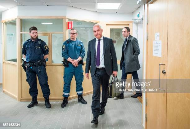 Johan Eriksson defence counsel to Uzbek national Rakhmat Akilov the prime suspect in the Stockholm truck attack arrives to talk to journalists prior...
