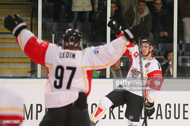 Johan Forsberg of Lulea celebrates scoring the winning goal in the penalty shot out after the Champions Hockey League PlayOff Round of 16 game...