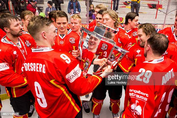 Johan Forsberg of Lulea Hockey whit the CHL trophy during the Champions Hockey League Final match between Lulea Hockey and Frolunda Gothenburg at...