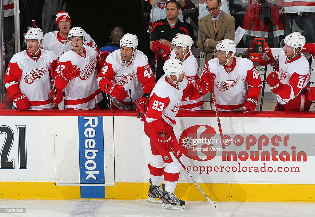 Johan Franzen #93 of the Detroit Red Wings celebrates a goal against the Colorado Avalanche at the Pepsi Center on October 8, 2011 in Denver, Colorado.