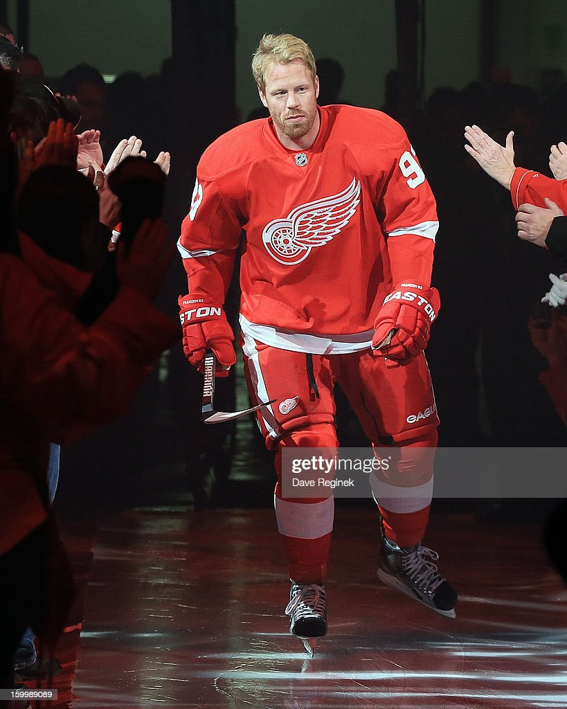 Johan Franzen #93 of the Detroit Red Wings is introduced in pre-game ceramonies before an NHL game against the Dallas Stars at Joe Louis Arena on January 22, 2013 in Detroit, Michigan. Dallas won 2-1