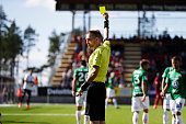 Johan Hamlin referee is showing the yellow card during the allsvenskan match between Ostersunds FK and Jonkopings Sodra IF at Jamtkraft Arena on July...