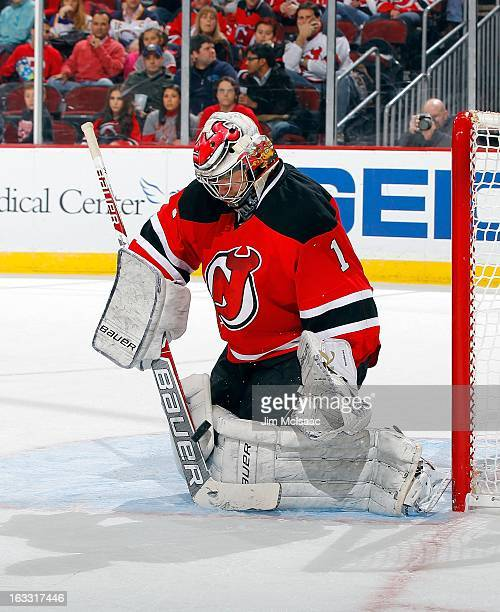 Johan Hedberg of the New Jersey Devils in action against the Buffalo Sabres at the Prudential Center on March 7 2013 in Newark New Jersey The Devils...