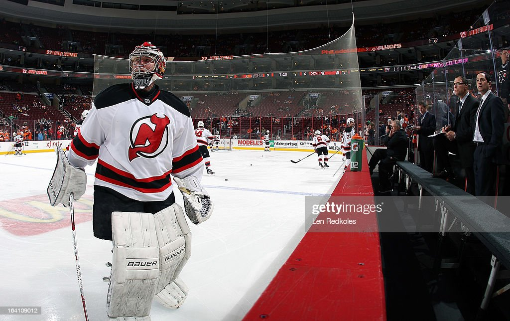 Johan Hedberg #1 of the New Jersey Devils looks on during warm-ups prior to his game against the Philadelphia Flyers on March 15, 2013 at the Wells Fargo Center in Philadelphia, Pennsylvania.