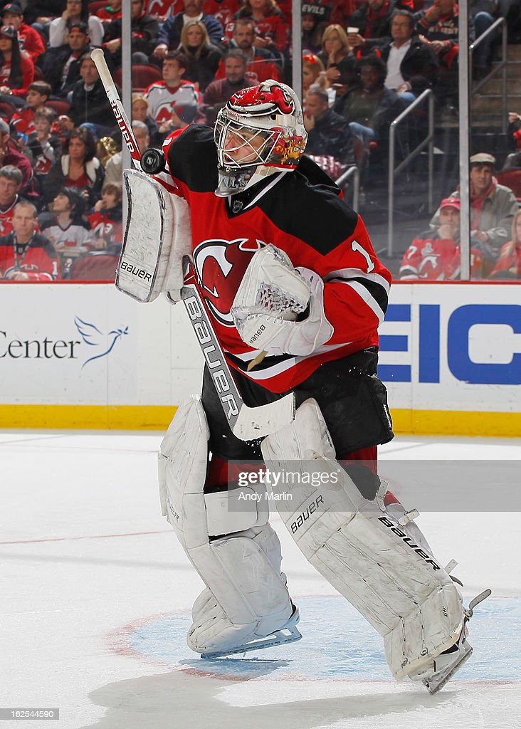<a gi-track='captionPersonalityLinkClicked' href=/galleries/search?phrase=Johan+Hedberg&family=editorial&specificpeople=202078 ng-click='$event.stopPropagation()'>Johan Hedberg</a> #1 of the New Jersey Devils makes a blocker save against the Winnipeg Jets during the game at the Prudential Center on February 24, 2013 in Newark, New Jersey.